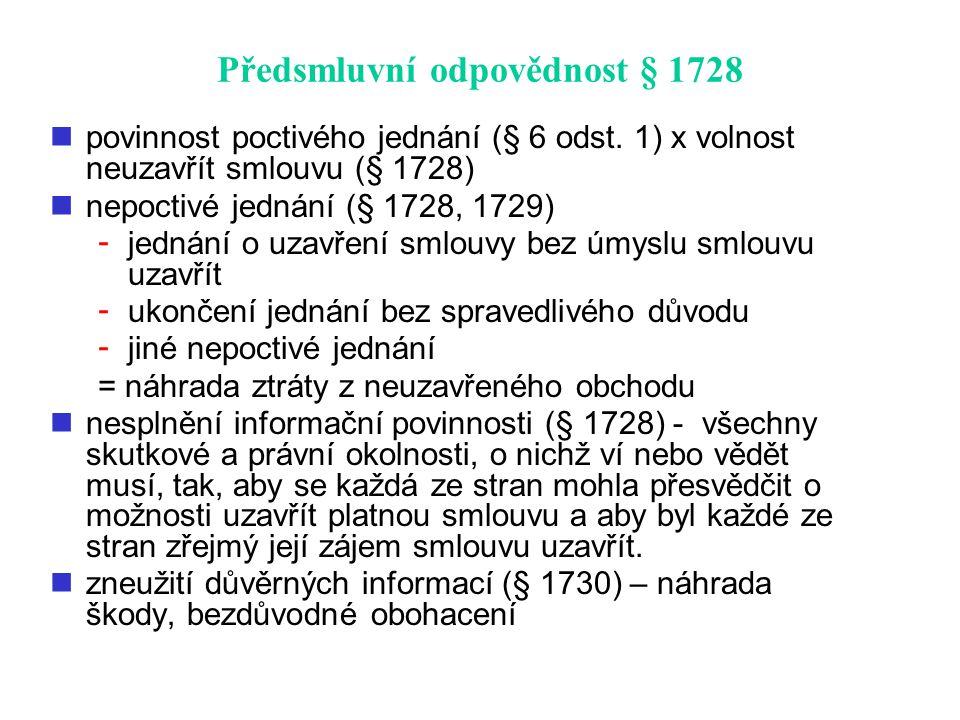 Předsmluvní odpovědnost § 1728