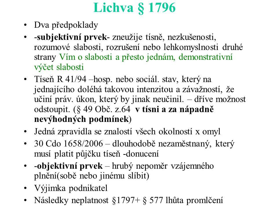 Lichva § 1796 Dva předpoklady