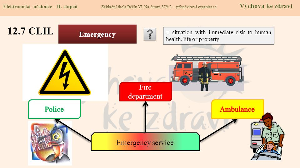 12.7 CLIL Emergency Fire department Police Ambulance Emergency service