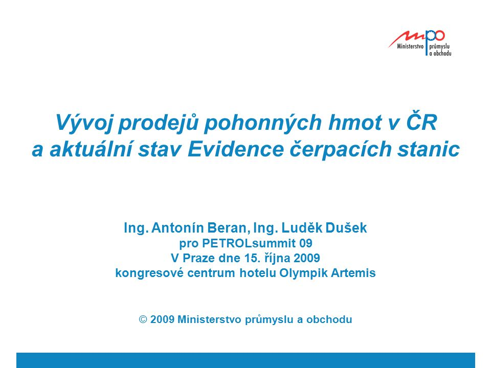 Vývoj prodejů pohonných hmot v ČR a aktuální stav Evidence čerpacích stanic