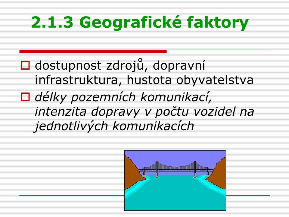 2.1.3 Geografické faktory dostupnost zdrojů, dopravní infrastruktura, hustota obyvatelstva.