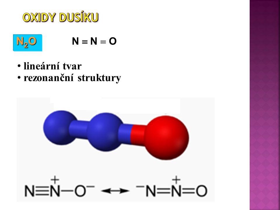 Oxidy dusíku N2O N  N  O lineární tvar rezonanční struktury