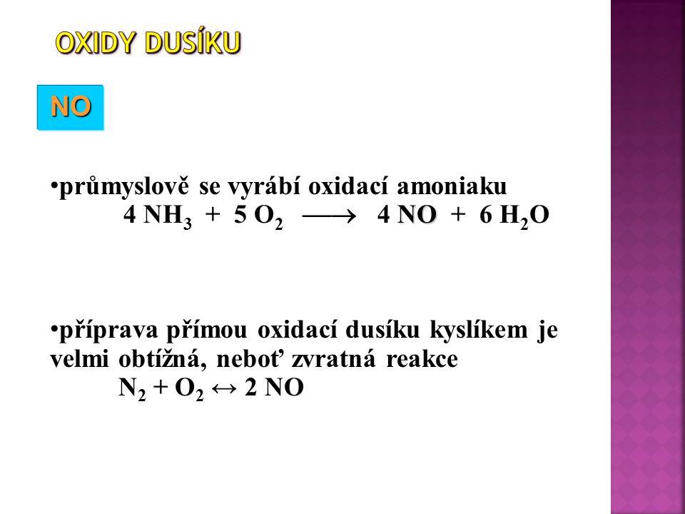 Oxidy dusíku NO průmyslově se vyrábí oxidací amoniaku
