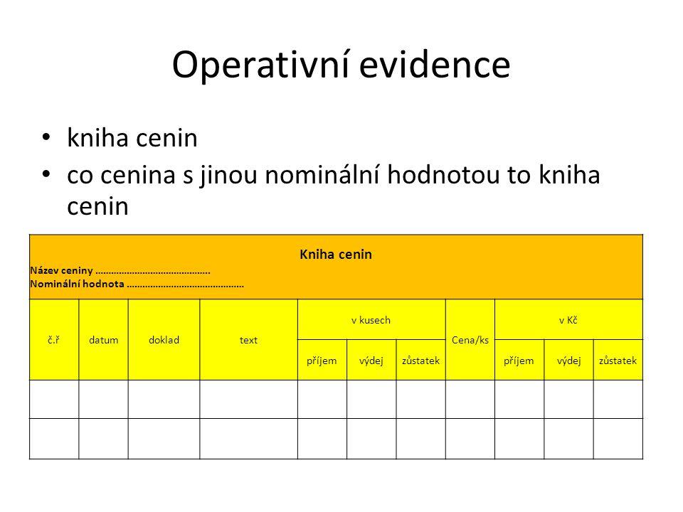 Operativní evidence kniha cenin