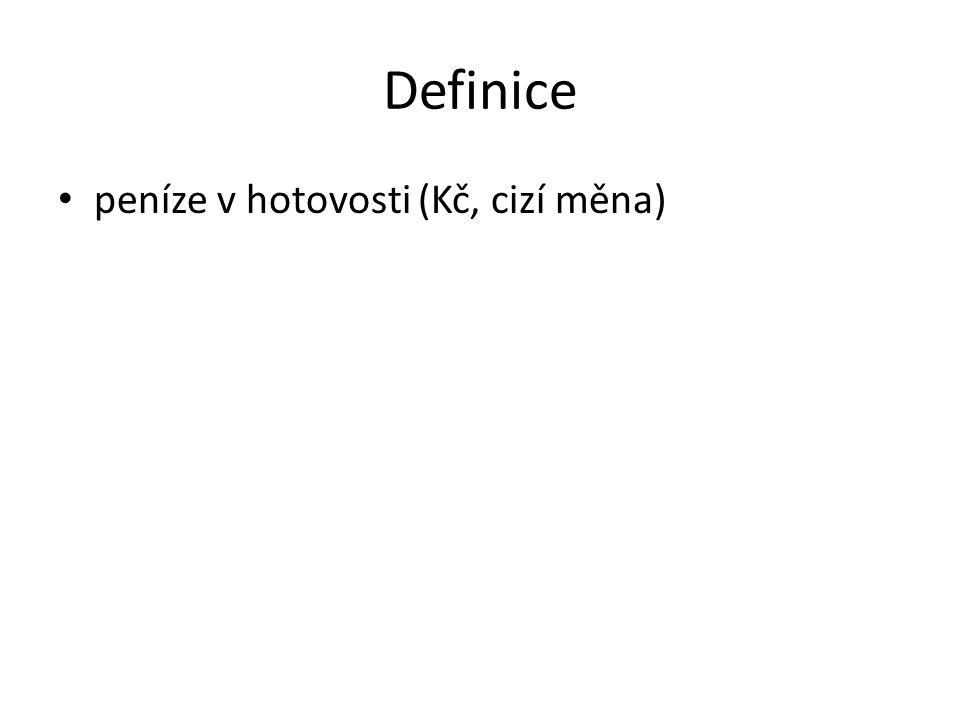 Definice peníze v hotovosti (Kč, cizí měna)