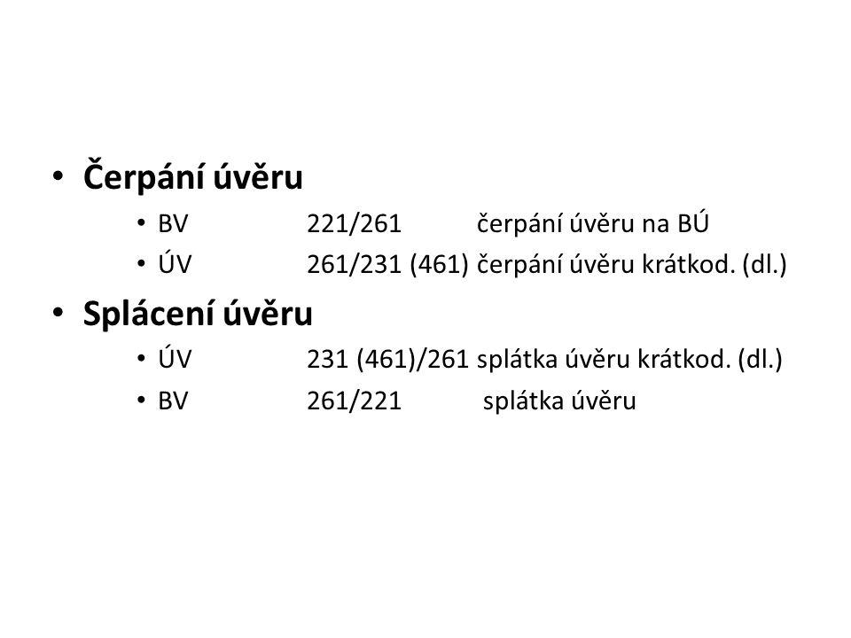 Čerpání úvěru Splácení úvěru BV 221/261 čerpání úvěru na BÚ