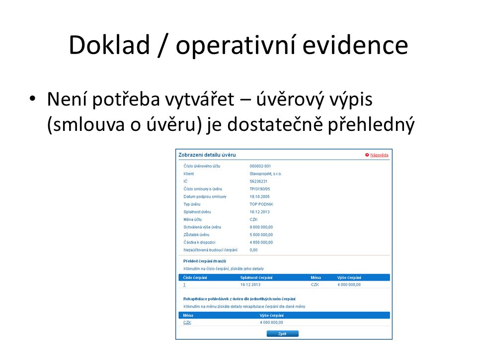 Doklad / operativní evidence