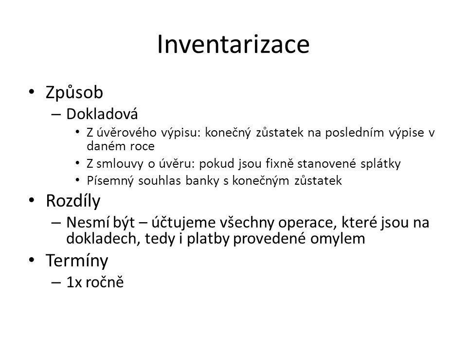Inventarizace Způsob Rozdíly Termíny Dokladová