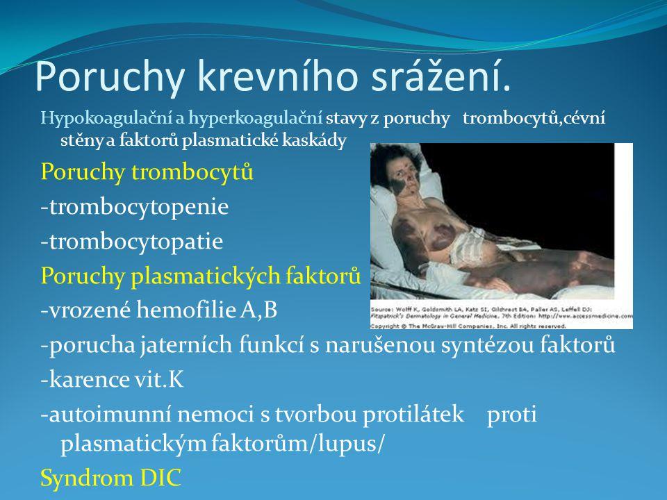 Poruchy krevního srážení.
