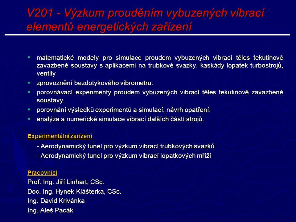 V201 - Výzkum prouděním vybuzených vibrací elementů energetických zařízení
