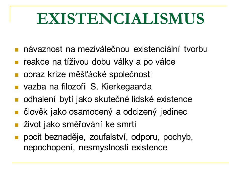 EXISTENCIALISMUS návaznost na meziválečnou existenciální tvorbu
