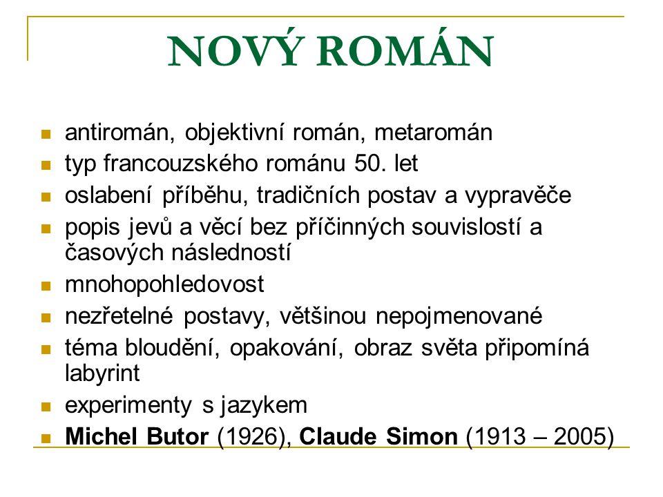 NOVÝ ROMÁN antiromán, objektivní román, metaromán