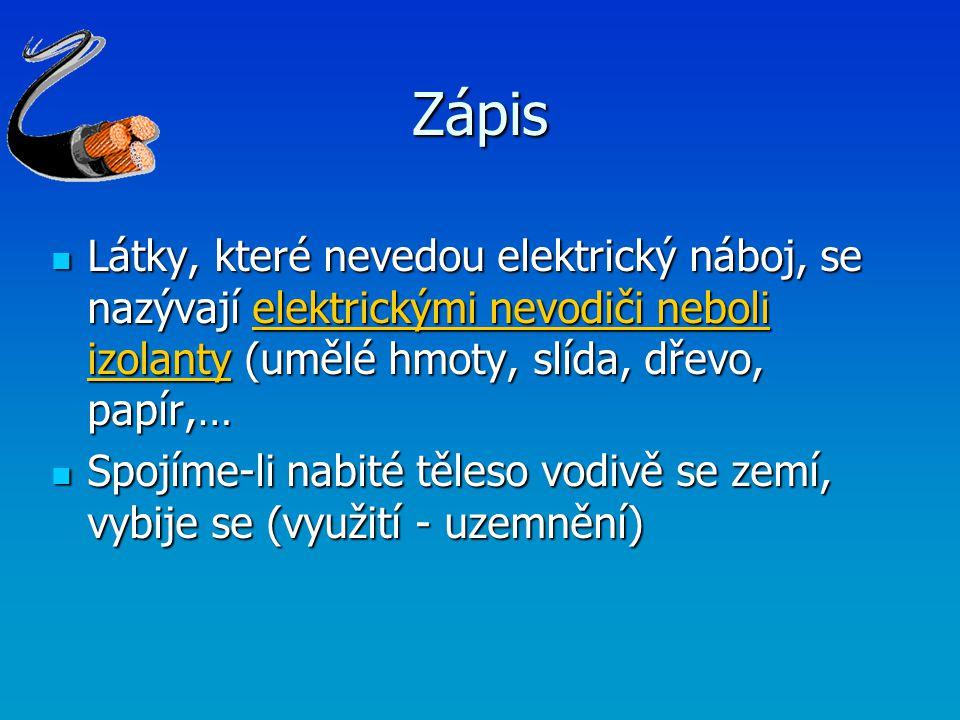 Zápis Látky, které nevedou elektrický náboj, se nazývají elektrickými nevodiči neboli izolanty (umělé hmoty, slída, dřevo, papír,…