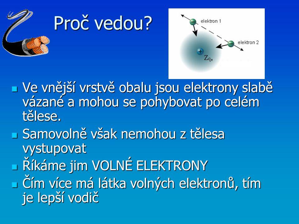 Proč vedou Ve vnější vrstvě obalu jsou elektrony slabě vázané a mohou se pohybovat po celém tělese.