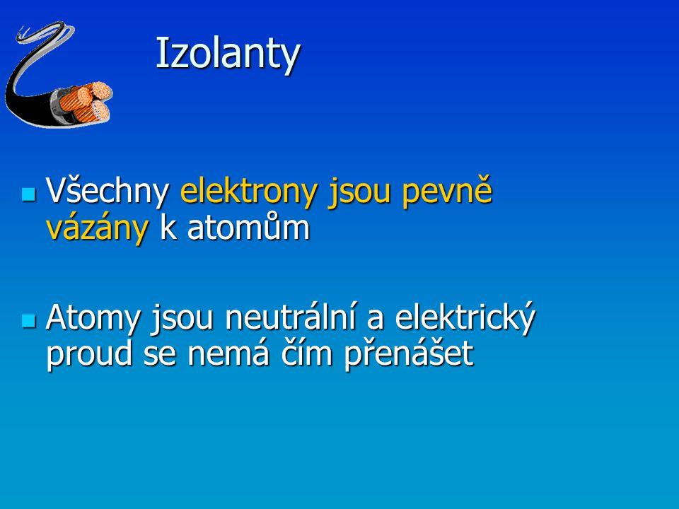 Izolanty Všechny elektrony jsou pevně vázány k atomům