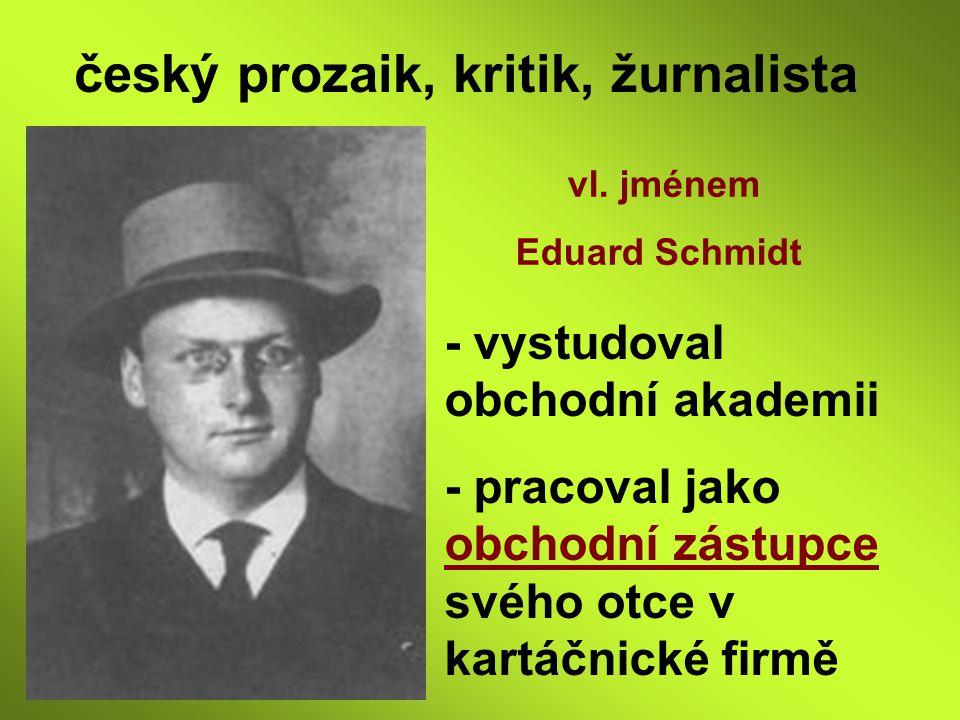 český prozaik, kritik, žurnalista