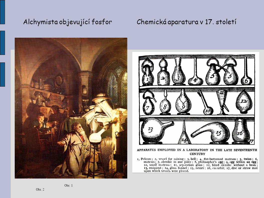 Alchymista objevující fosfor Chemická aparatura v 17. století