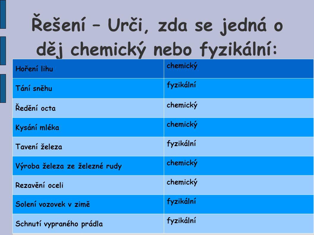 Řešení – Urči, zda se jedná o děj chemický nebo fyzikální: