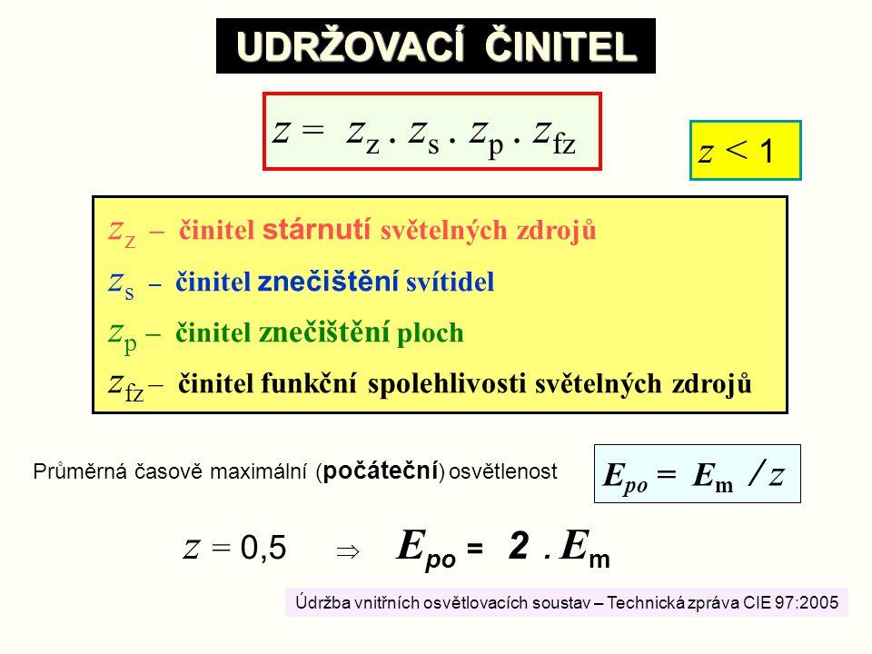 z = zz . zs . zp . zfz z = 0,5  Epo = 2 . Em UDRŽOVACÍ ČINITEL