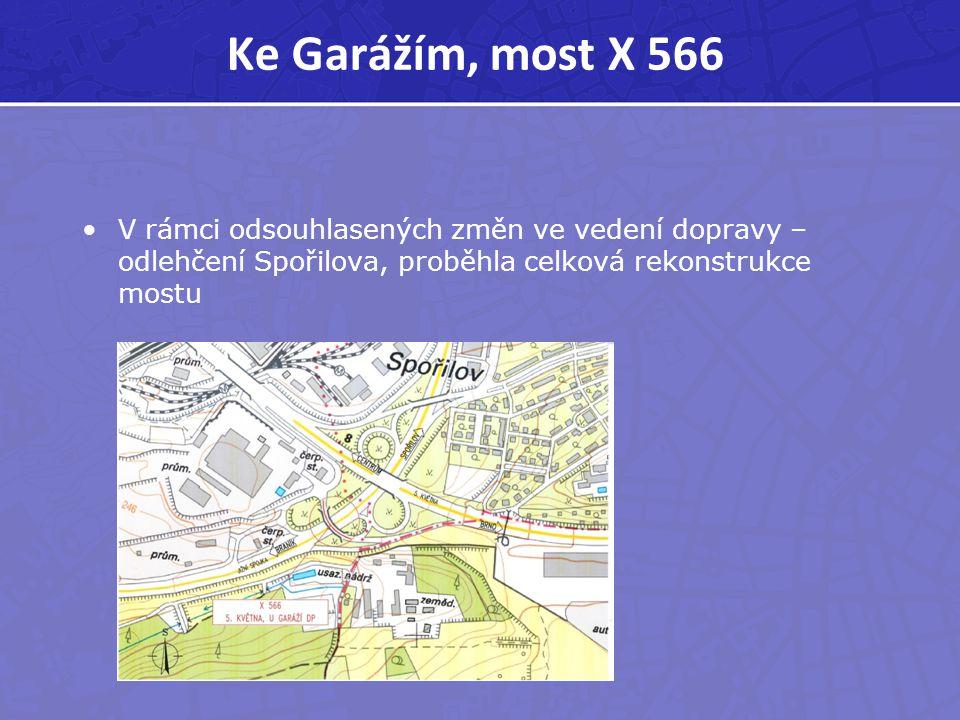 Ke Garážím, most X 566 V rámci odsouhlasených změn ve vedení dopravy – odlehčení Spořilova, proběhla celková rekonstrukce mostu.