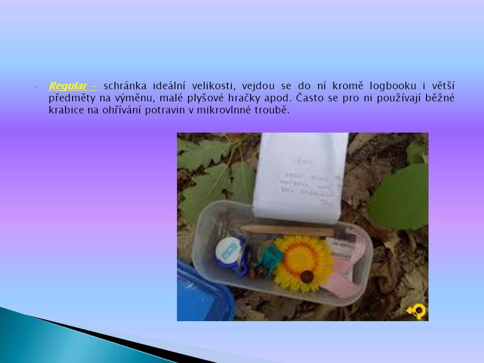 Regular – schránka ideální velikosti, vejdou se do ní kromě logbooku i větší předměty na výměnu, malé plyšové hračky apod.