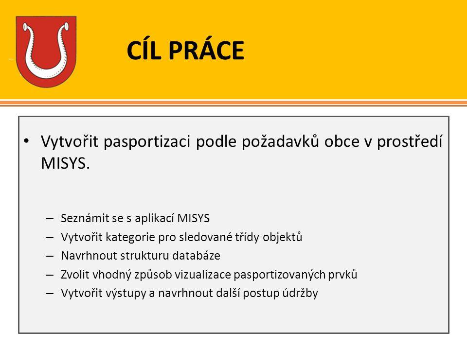 CÍL PRÁCE Vytvořit pasportizaci podle požadavků obce v prostředí MISYS. Seznámit se s aplikací MISYS.