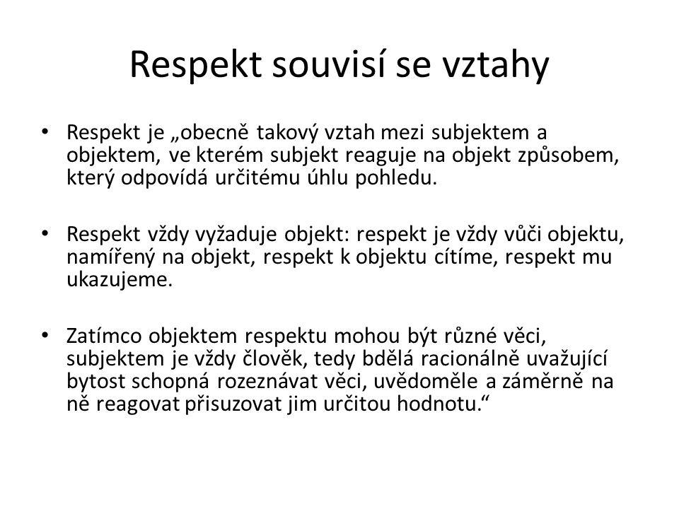 Respekt souvisí se vztahy