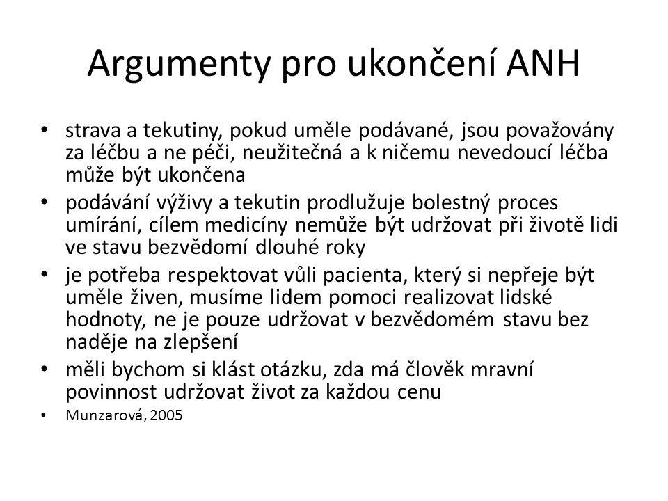 Argumenty pro ukončení ANH