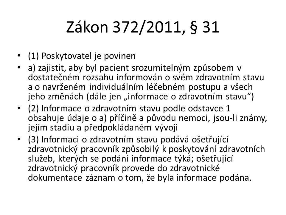 Zákon 372/2011, § 31 (1) Poskytovatel je povinen