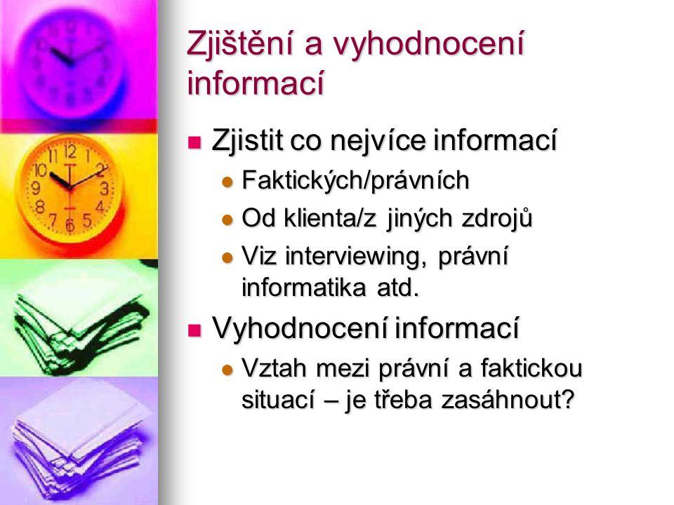 Zjištění a vyhodnocení informací