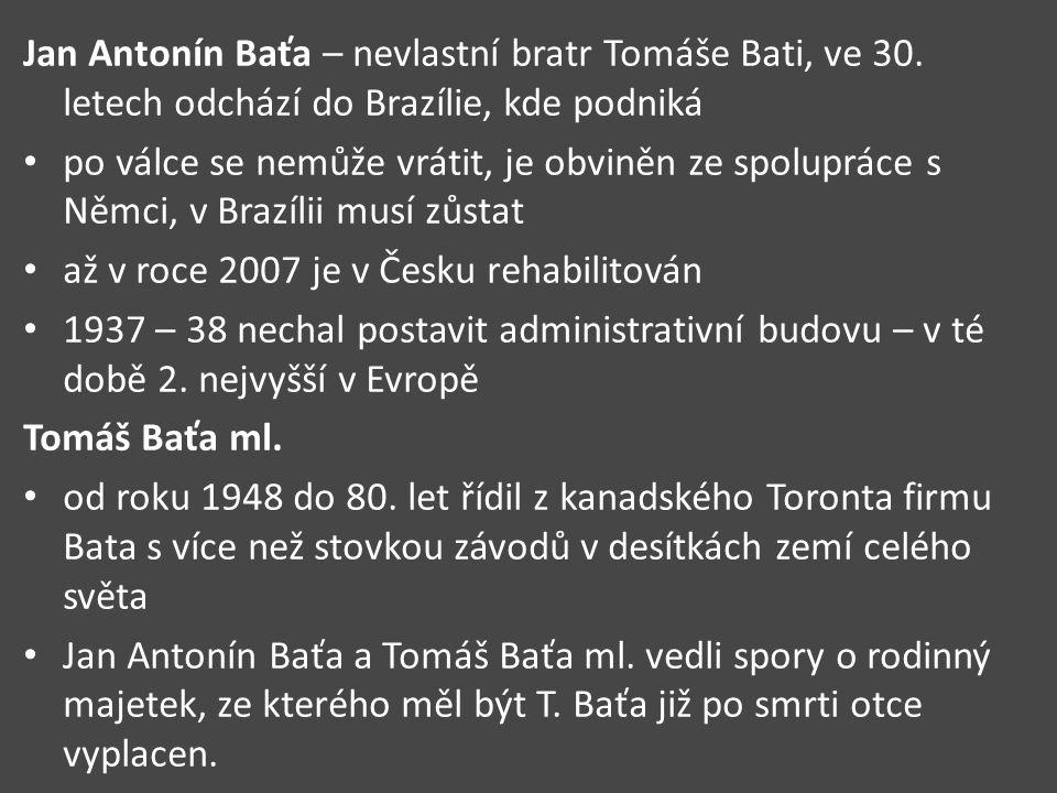 Jan Antonín Baťa – nevlastní bratr Tomáše Bati, ve 30