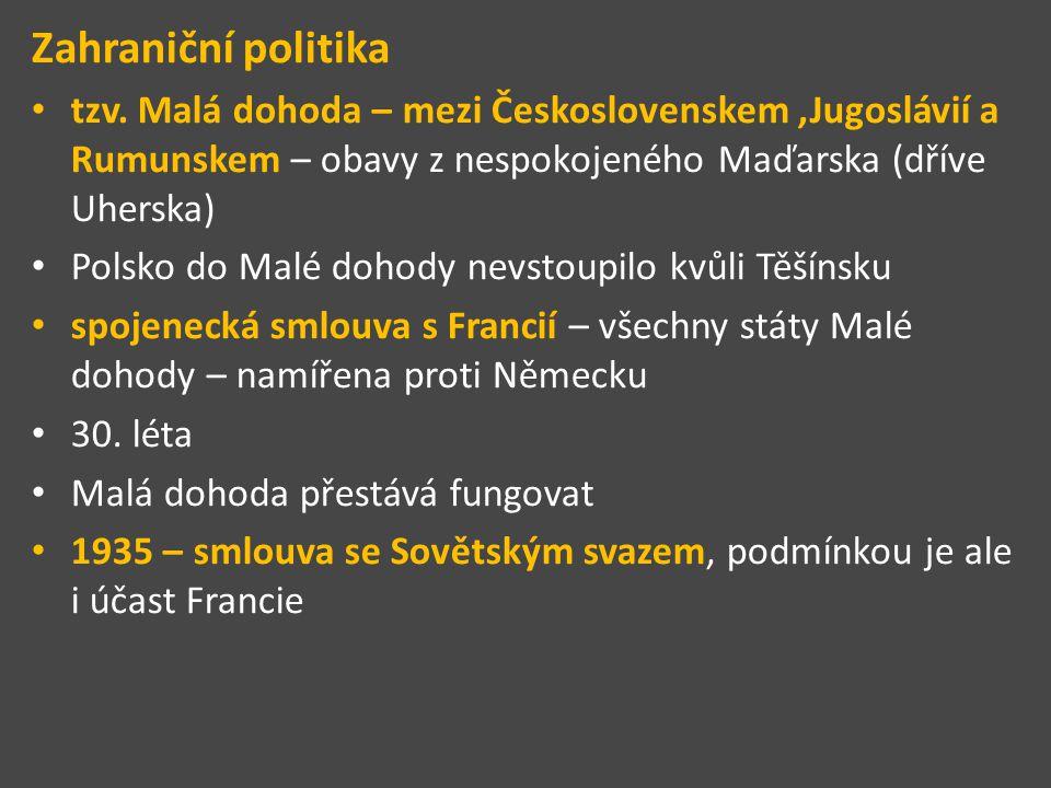 Zahraniční politika tzv. Malá dohoda – mezi Československem ,Jugoslávií a Rumunskem – obavy z nespokojeného Maďarska (dříve Uherska)