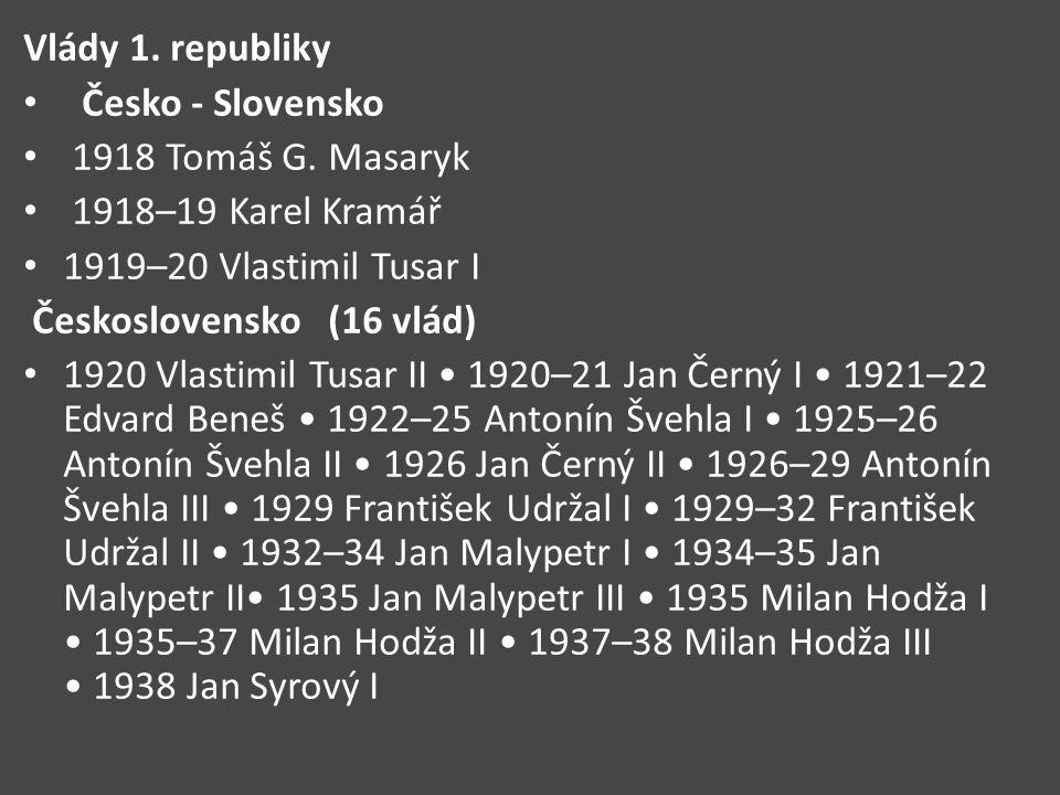 Vlády 1. republiky Česko - Slovensko. 1918 Tomáš G. Masaryk. 1918–19 Karel Kramář. 1919–20 Vlastimil Tusar I.