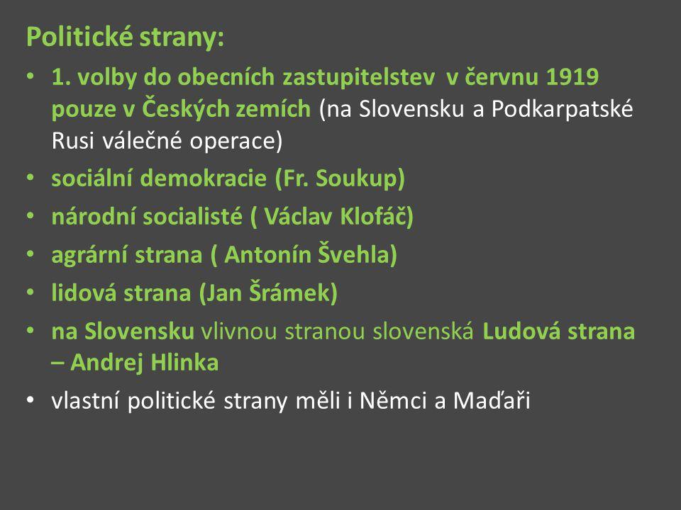 Politické strany: 1. volby do obecních zastupitelstev v červnu 1919 pouze v Českých zemích (na Slovensku a Podkarpatské Rusi válečné operace)