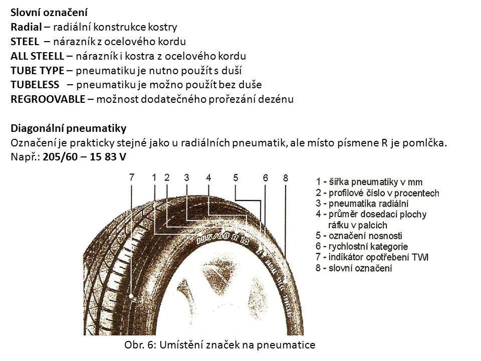 Slovní označení Radial – radiální konstrukce kostry. STEEL – nárazník z ocelového kordu. ALL STEELL – nárazník i kostra z ocelového kordu.