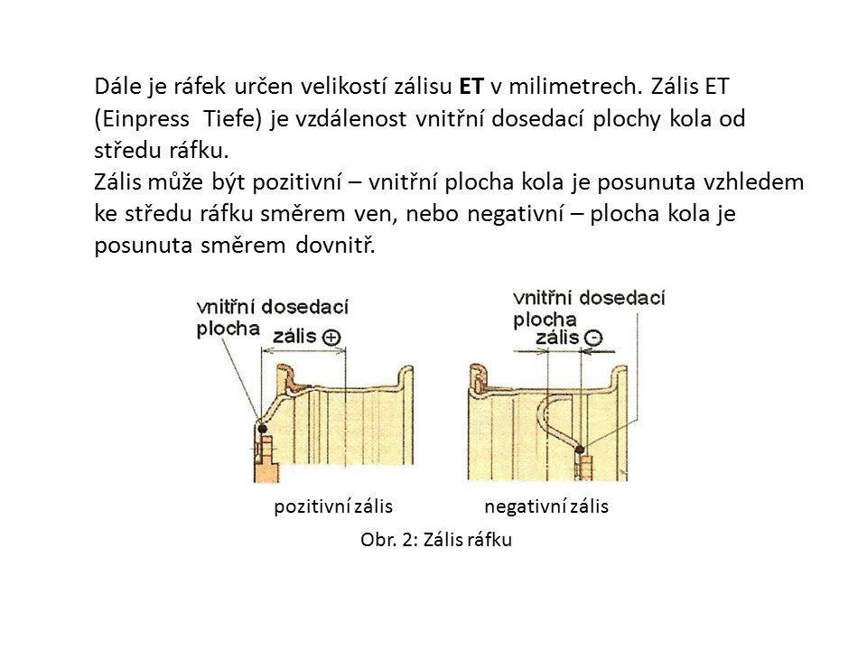 Dále je ráfek určen velikostí zálisu ET v milimetrech