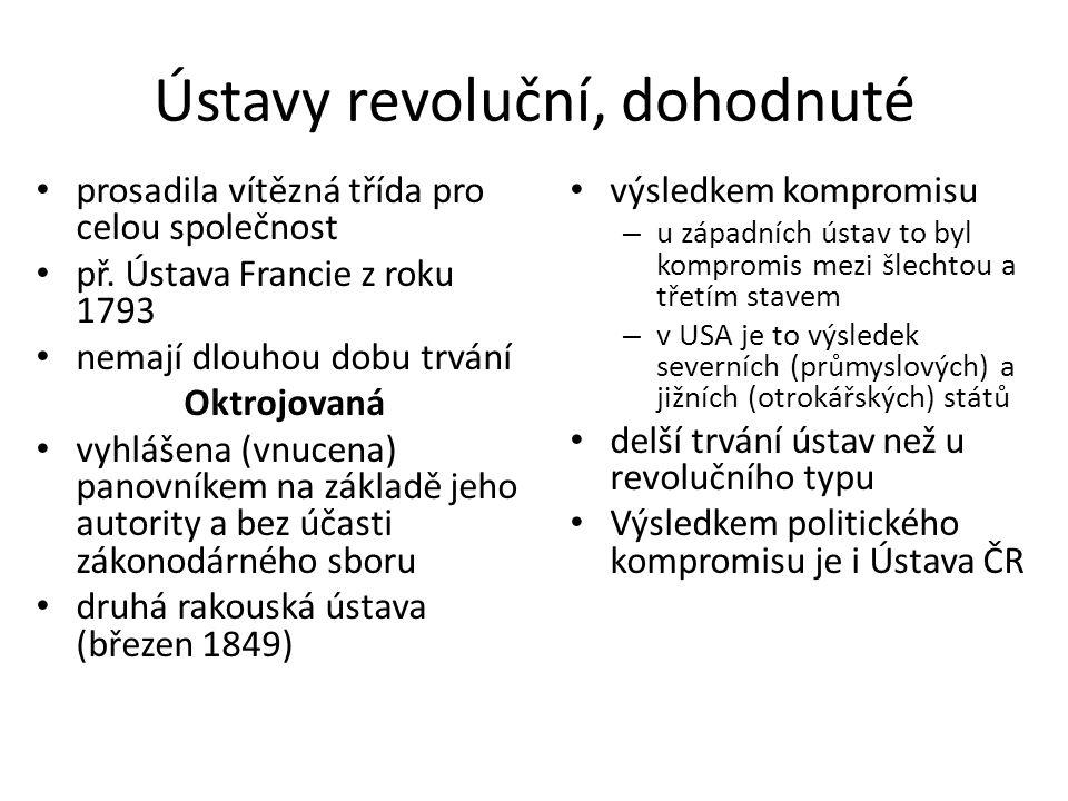 Ústavy revoluční, dohodnuté