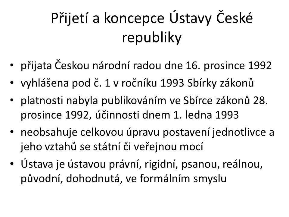 Přijetí a koncepce Ústavy České republiky