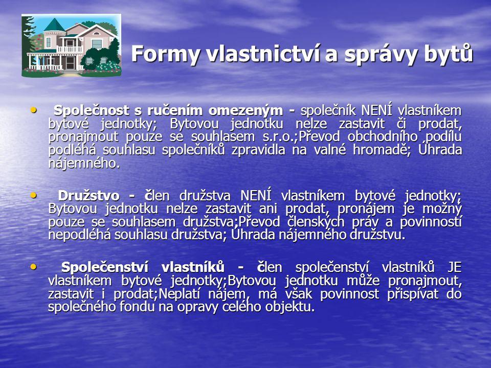 Formy vlastnictví a správy bytů