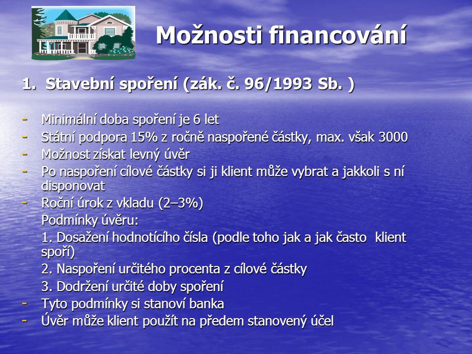 Možnosti financování 1. Stavební spoření (zák. č. 96/1993 Sb. )