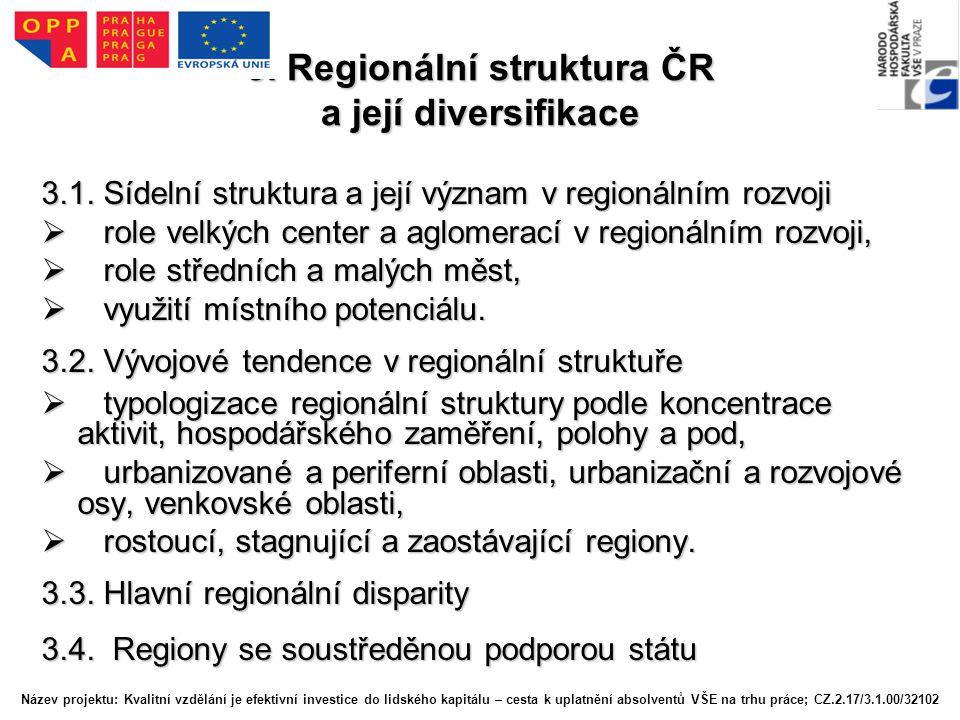 3. Regionální struktura ČR a její diversifikace