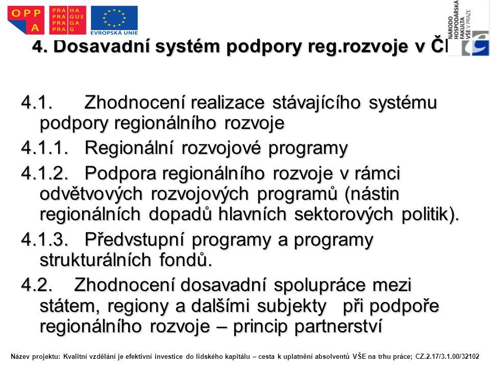 4. Dosavadní systém podpory reg.rozvoje v ČR