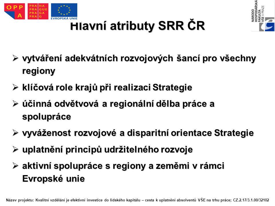 Hlavní atributy SRR ČR vytváření adekvátních rozvojových šancí pro všechny regiony. klíčová role krajů při realizaci Strategie.