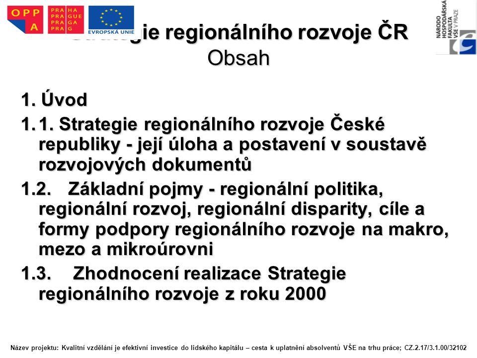 Strategie regionálního rozvoje ČR Obsah