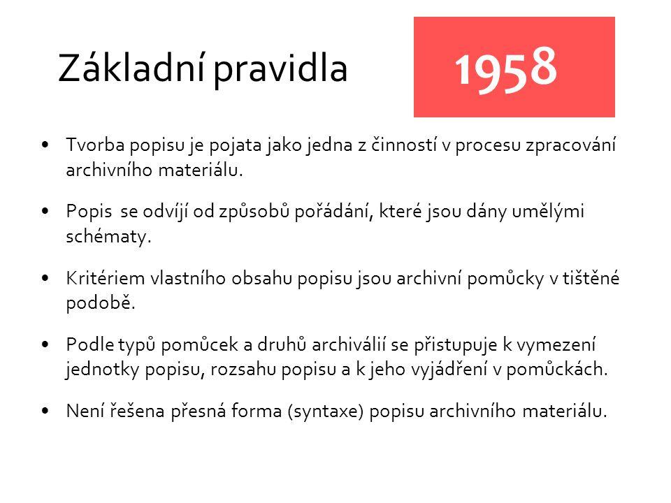 Základní pravidla 1958. Tvorba popisu je pojata jako jedna z činností v procesu zpracování archivního materiálu.