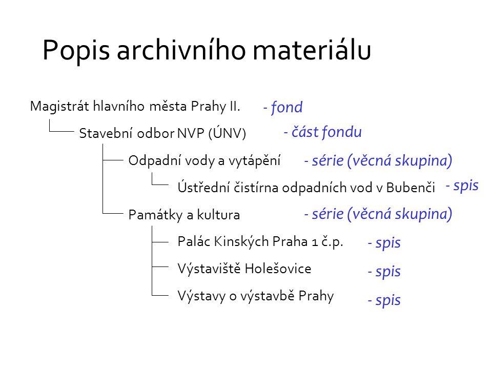 Popis archivního materiálu