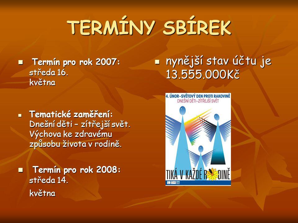 TERMÍNY SBÍREK Termín pro rok 2007: středa 16. května