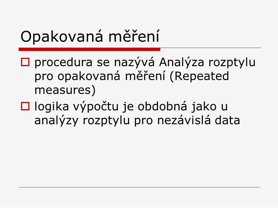 Opakovaná měření procedura se nazývá Analýza rozptylu pro opakovaná měření (Repeated measures)
