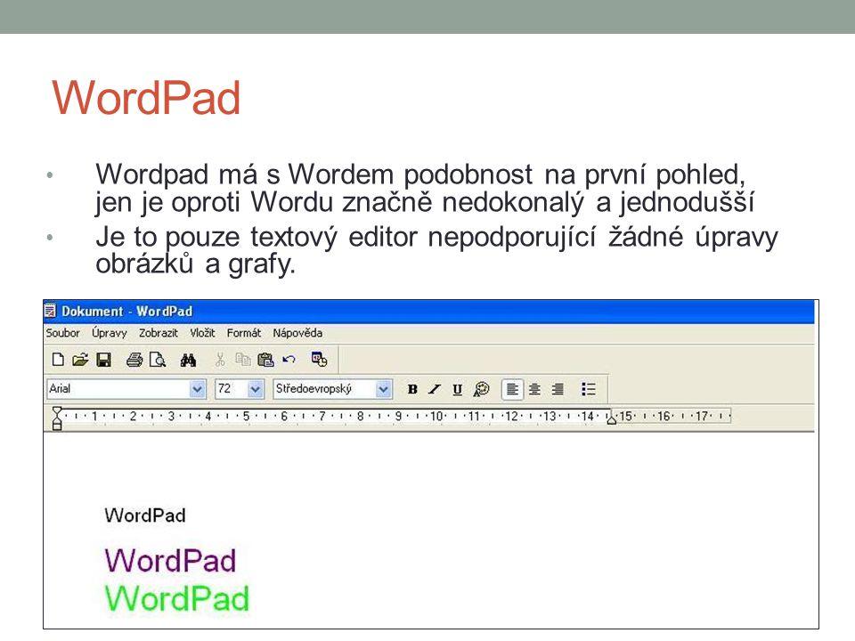 WordPad Wordpad má s Wordem podobnost na první pohled, jen je oproti Wordu značně nedokonalý a jednodušší.