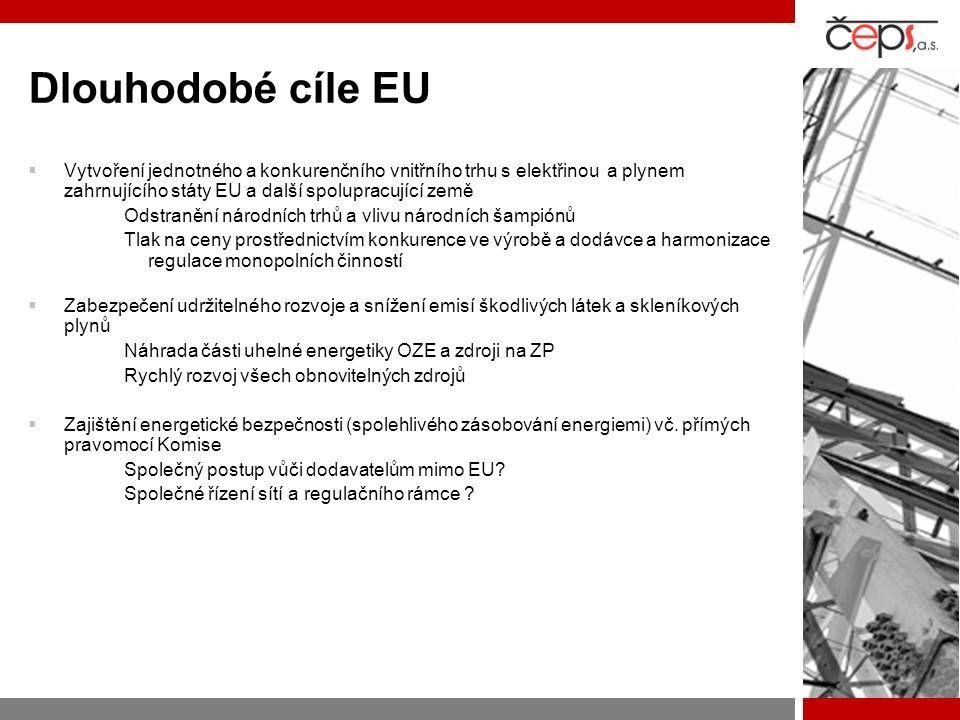 Dlouhodobé cíle EU Vytvoření jednotného a konkurenčního vnitřního trhu s elektřinou a plynem zahrnujícího státy EU a další spolupracující země.